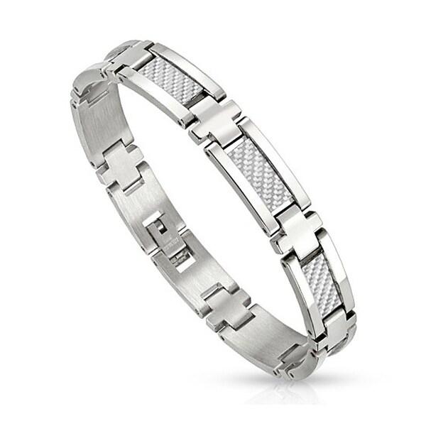 White Carbon Fiber Strips in Center Stainless Steel Link Bracelet  (10 mm) - 8.25 in