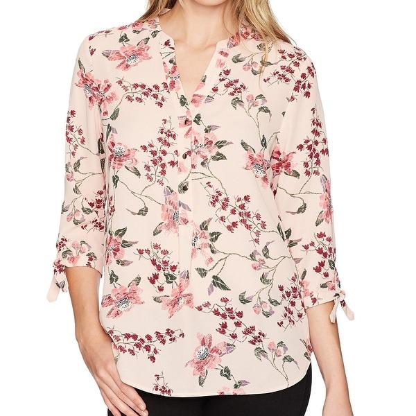 e50e13f836812 Shop Ivanka Trump Pink Georgette Floral Print Tie-Sleeve Women XL ...