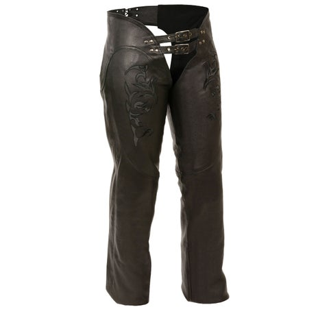 Womens Leather Chaps Reflective Tribal Embroidery