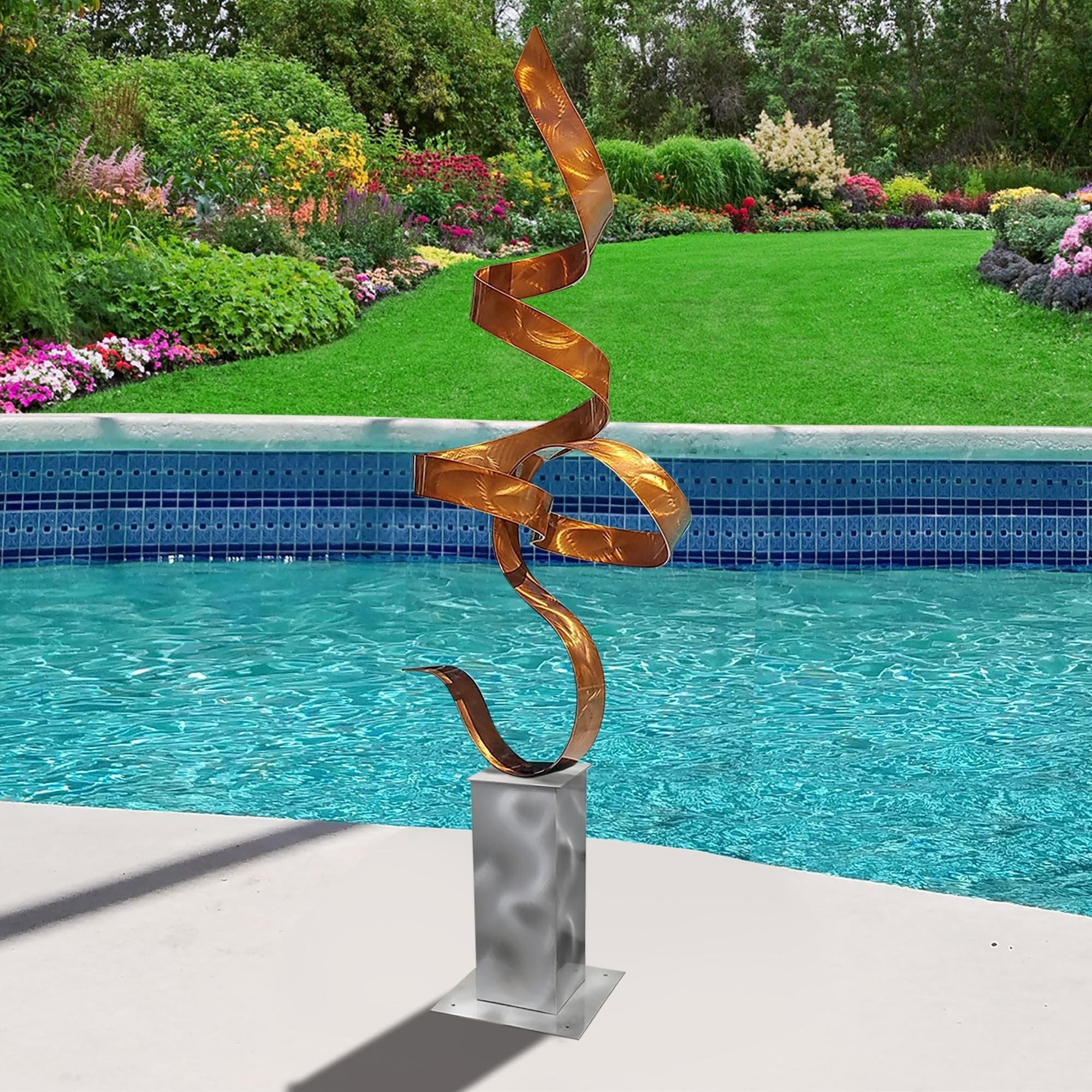 Metal Sculpture Contemporary Art Modern Garden Statue Office Decor Allure Silver Base by Jon Allen Abstract Indoor Outdoor Art