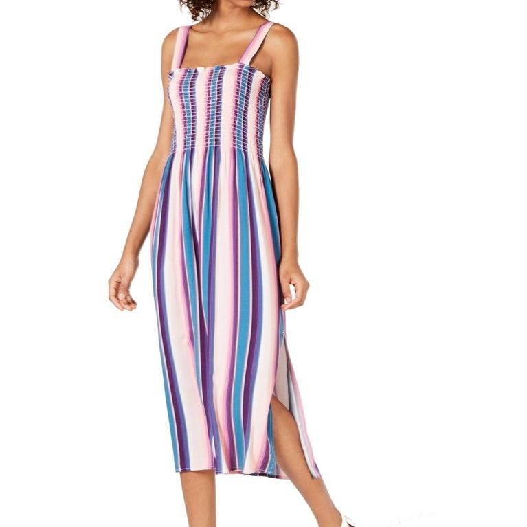Bebop Womens Pink Size Large L Striped Printed Smock Top Midi Dress