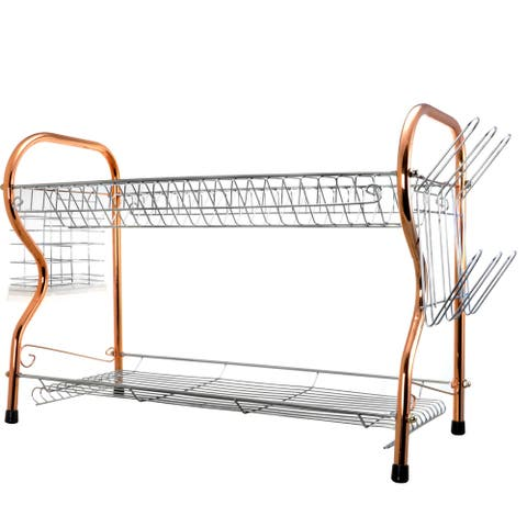 Better Chef 2-Tier 22 in. Chrome Plated Dish Rack in copper - Silver