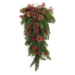 "Set of 2 Green Pine Berry Artificial Christmas Teardrop Swag - Unlit 27.5"""