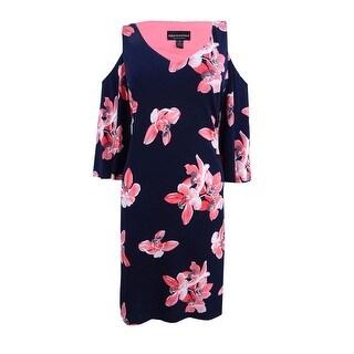 Connected Women's Floral-Print Cold-Shoulder Dress - Melon