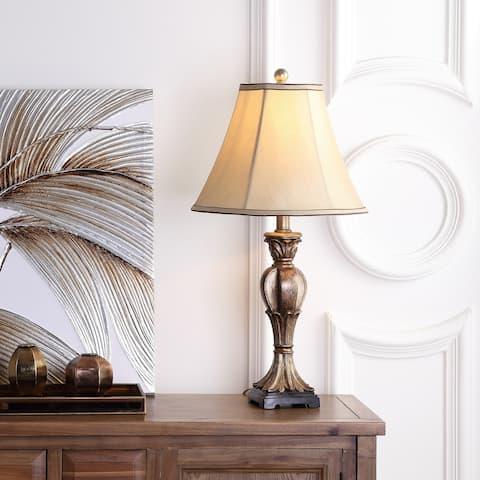 "Safavieh Lighting 25-inch Lorax Gold Silky Table Lamp (Set of 2) - 13""x13""x25"""