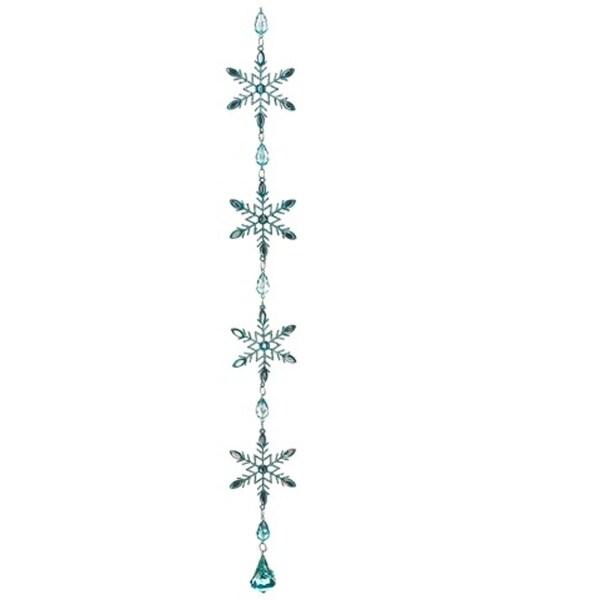 "20"" Winter Frost Aquamarine Blue Glitter Snowflake Christmas Dangle Ornament"