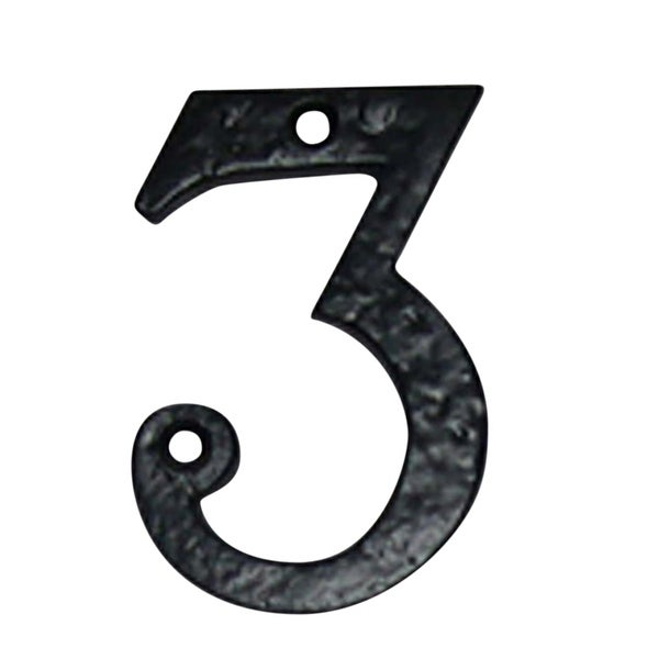 Number 3 House Black Wrought Iron 4h