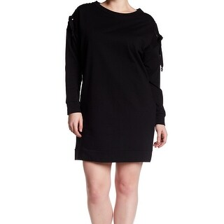 Bobeau Black Women's Size 3X Plus Lace Up Tunic Sweater Dress