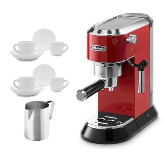 Delonghi Dedica EC 680.R Espresso Machine (Red) + 2 Glasses and Frothing Pitcher