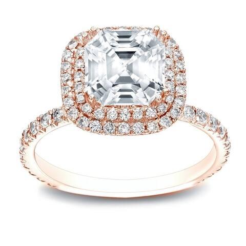 Auriya 14k Gold 1 3/4ctw Asscher-cut Halo Diamond Engagement Ring Certified