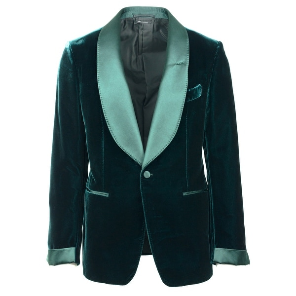 Shop Tom Ford Mens Green Velvet Shelton Cocktail Blazer