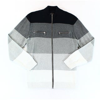 INC NEW Black White Mens Size 2XL Copperfield Stripe Full Zip Sweater
