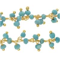Turquoise Gem. Drops Gold Vermeil Wire Wrapped Chain 3mm Rondelles - By The Inch