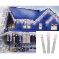 96 Twinkling Cool White LED Christmas Icicle Lights Extension Set - White Wire