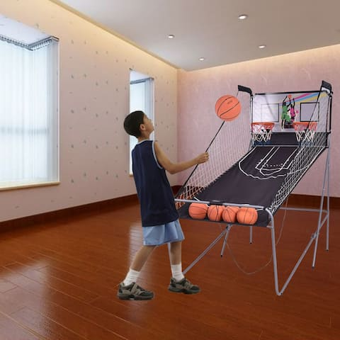 Costway Indoor Basketball Arcade Game Double Electronic Hoops shot 2