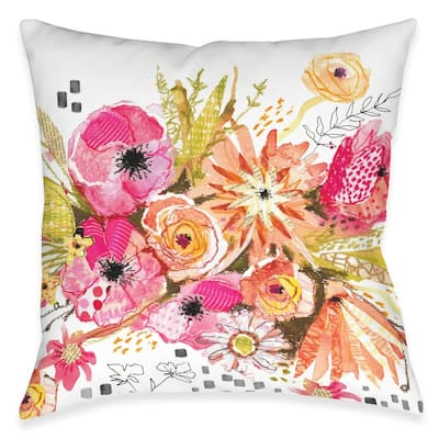 Peachy Blossoms Outdoor Pillow