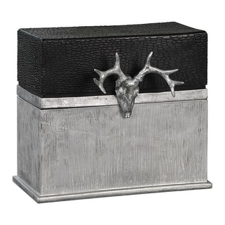 """10"""" Metallic Silver and Pebbled Black Lid with Decorative Deer Skull Storage Box"""