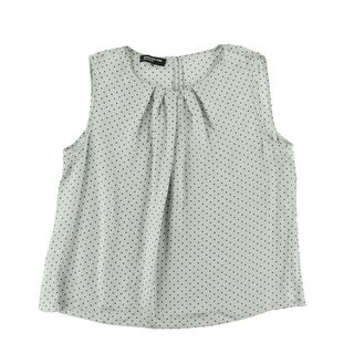 Jones New York Womens Plus Abby Polka Dot Pleated Pullover Top