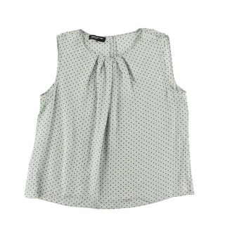 Jones New York Womens Plus Abby Polka Dot Pleated Pullover Top - 12