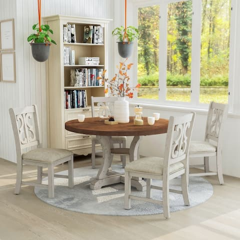 Furniture of America Sylmer Transitional 5-piece Dining Table Set