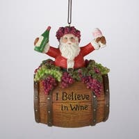 "12 Tuscan Winery Santa Claus in Wine Barrel ""I Believe"" Christmas Ornaments 4"" - brown"