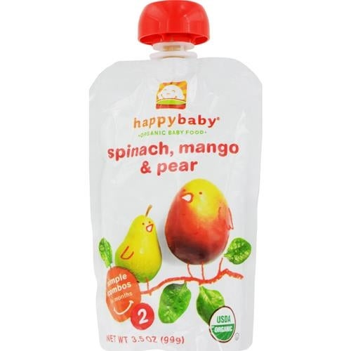 Happy Family - Organic Baby Food Stage 2 - Spinach Mango And Pear ( 16 - 3.5 OZ)