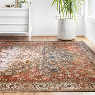 Link to Alexander Home Isabelle Traditional Vintage Border Printed Area Rug Similar Items in Transitional Rugs
