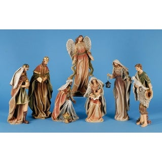 7 Piece Classic Earth Tone Religious Christmas Nativity Figurine Set