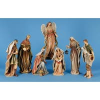 7 Piece Classic Earth Tone Religious Christmas Nativity Figurine Set - brown