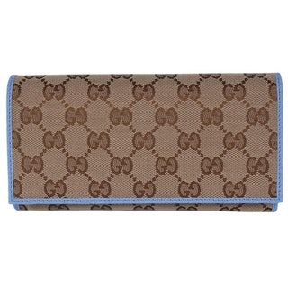 "Gucci Women's 346058 Beige Blue Canvas Leather Continental Bifold Wallet - 7.5"" x 4"" x 1"""