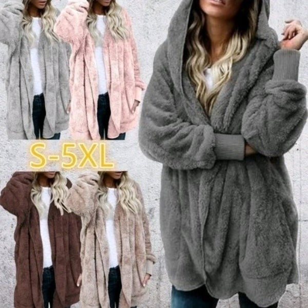 Women's Fashion Winter Warm Solid Color Cardigan Hoodies Coats Long Sleeve Knitted Sweaters Jackets. Opens flyout.
