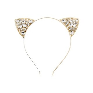 Women's Cat Ears Metal Headband - Rhinestones Gold - Medium