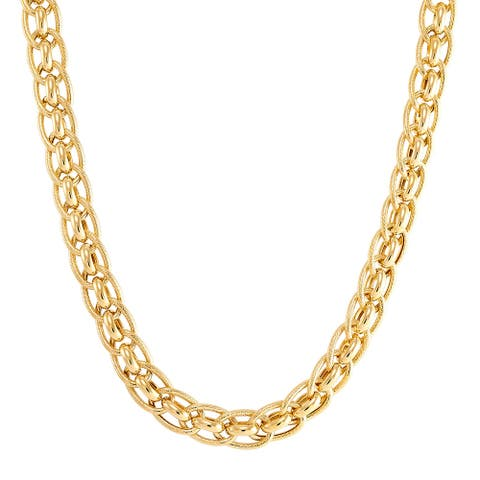 """Italian-Made Double Oval Rondel Link Necklace in 18K Gold-Plated Bronze, 18"""" - Yellow"""
