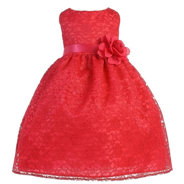 Baby Girls Red Floral Lace T-Length Flower Girl Dress 6-24M