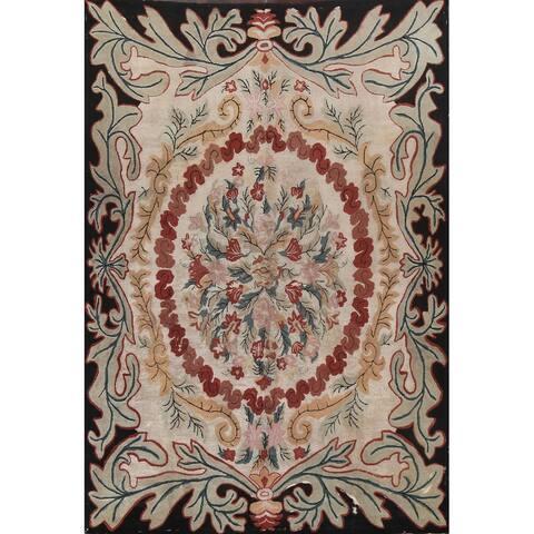 "Antique Floral Rya Oriental Wool Area Rug Hand-Hooked Stunning Carpet - 8'7"" x 11'7"""