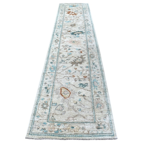 """Shahbanu Rugs Oushak Hand Knotted Pliable Wool Light Gray With With Floral Motifs Oriental Runner Rug (2'9"""" x 13'4""""). Opens flyout."""