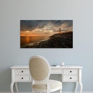 Easy Art Prints Panoramic Image 'Lighthouse on coast, Ardnamurchan Lighthouse, Scottish Highlands, Scotland' Canvas Art