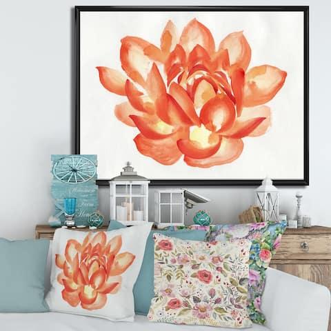 Designart 'Vintage Detail of A Orange Lotus' Traditional Framed Canvas Wall Art Print