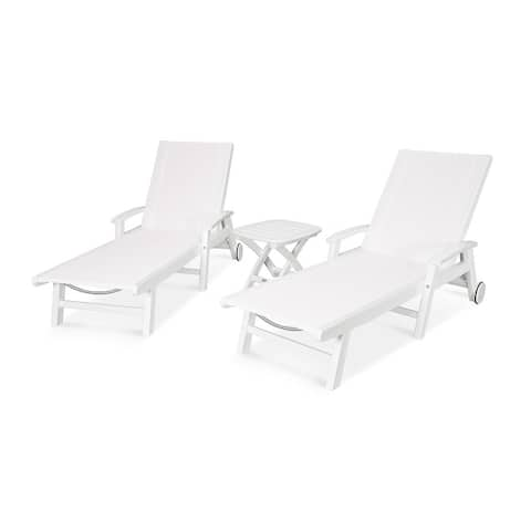 POLYWOOD Coastal 3-piece Wheeled Chaise Set