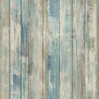 "RoomMates RMK9052WP 20-1/2"" x 198"" - Blue Distressed Wood - Self Adhesive Vinyl Film - 28.18 Sq. Ft."