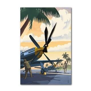 P-51 Mustang at Air Field - Lantern Press Artwork (Acrylic Wall Clock)