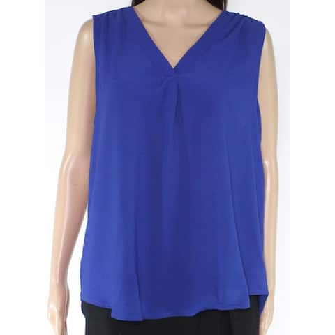 Gibson Womens Cobalt Large V-Neck Pleated Front Tank Top