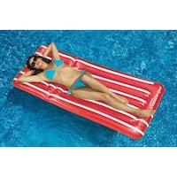 "72"" Water Sports Transparent Red and White Cool Stripe Inflatable Swimming Pool Mattress Float"