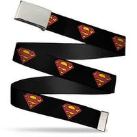Blank Chrome Buckle Superman Shield Black Webbing Web Belt