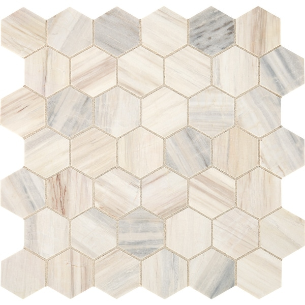 "Daltile M0122HEXMS1U Fonte - 2"" x 2"" Hexagon Mosaic Floor and Wall Tile - Honed Marble Visual - Sold by Sheet - Pier White"