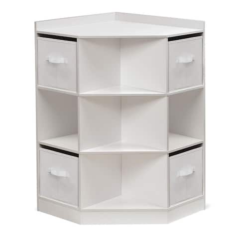 Badger Basket Corner Cubby Storage Unit with Four Reversible Baskets - White