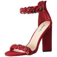 Qupid Women's Lyra-45 Heeled Sandal, Black, Size 6.5