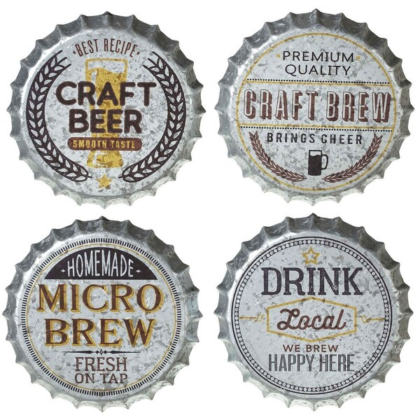"""Set of 4 Assorted Gray Galvanized Beer Bottle Cap Wall Decorations 13.75"""" - N/A"""
