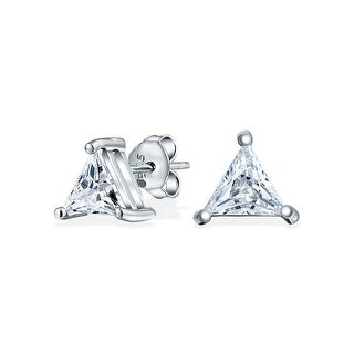 Bling Jewelry 925 Silver Basket Set Trillion Cut CZ Triangle Studs 6mm