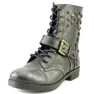 Mia Spikke Round Toe Synthetic Ankle Boot